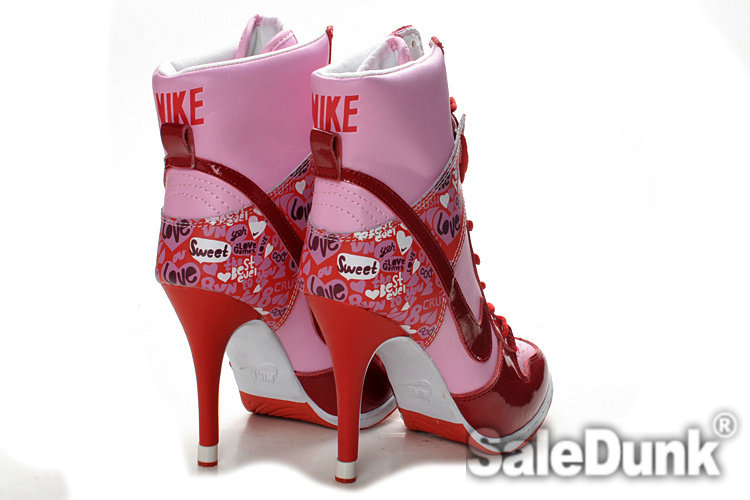 on sale 2b3ac 23d86 Stylish Dark Red Pink Valentine Day Nike Dunk High Heels ...