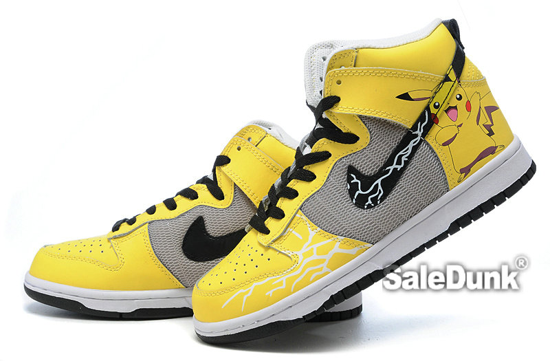 newest collection 07294 9d14f Yellow-Nike-Dunk-Pokemon-Pikachu-High-tops-Custom-