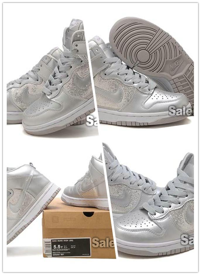 buy online c9579 fd25e High Tops Nike Dunks Silver Sequin Sneaker For Girl 2